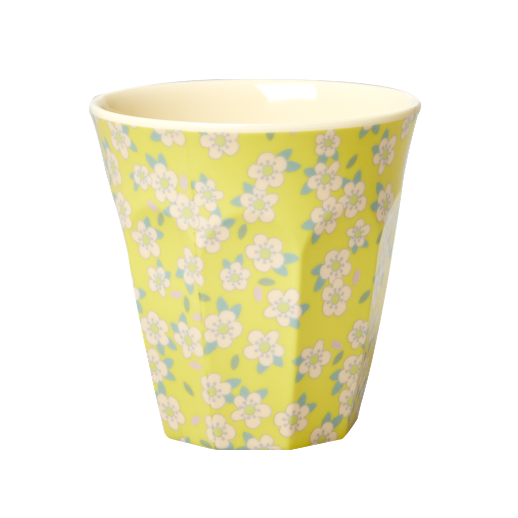 Melamine Cup with Yellow Small Flower Print - Medium - Rice By Rice