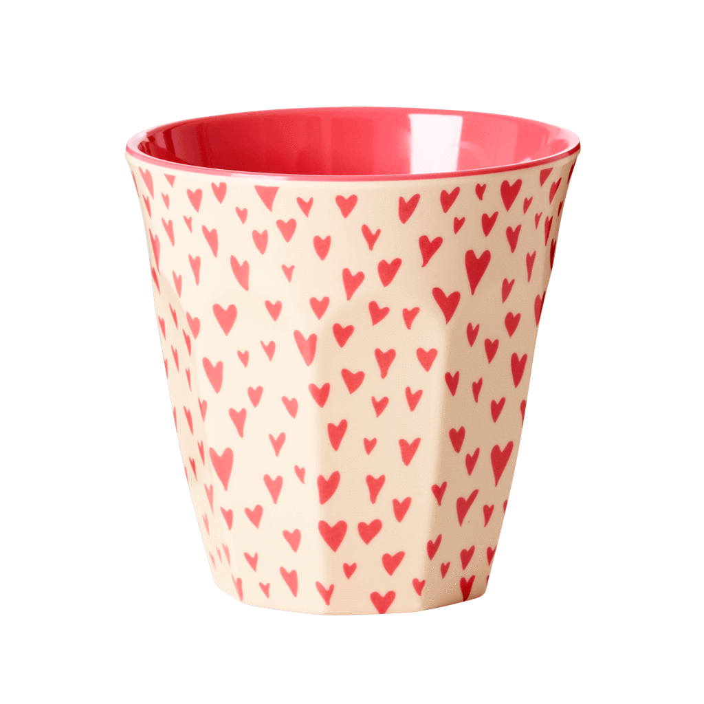 Melamine Cup with Small Hearts Print - Medium - Rice By Rice