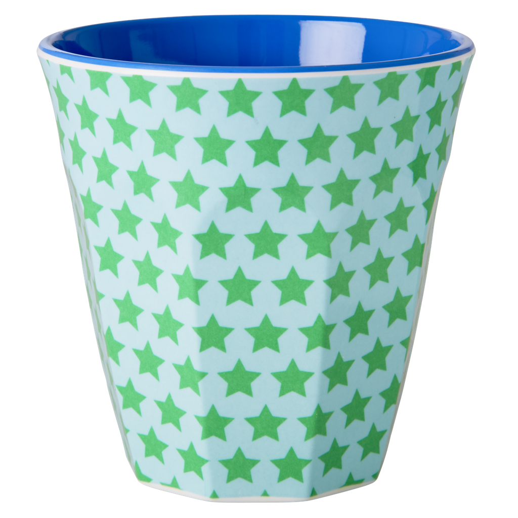 Melamine Cup with Green and Turquoise Star Print <br> Two Tone <br> Medium - Rice By Rice