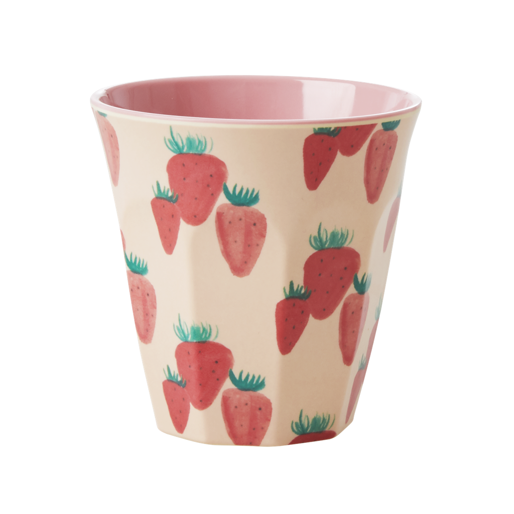 Melamine Cup with Strawberry Print <br> Medium - Rice By Rice