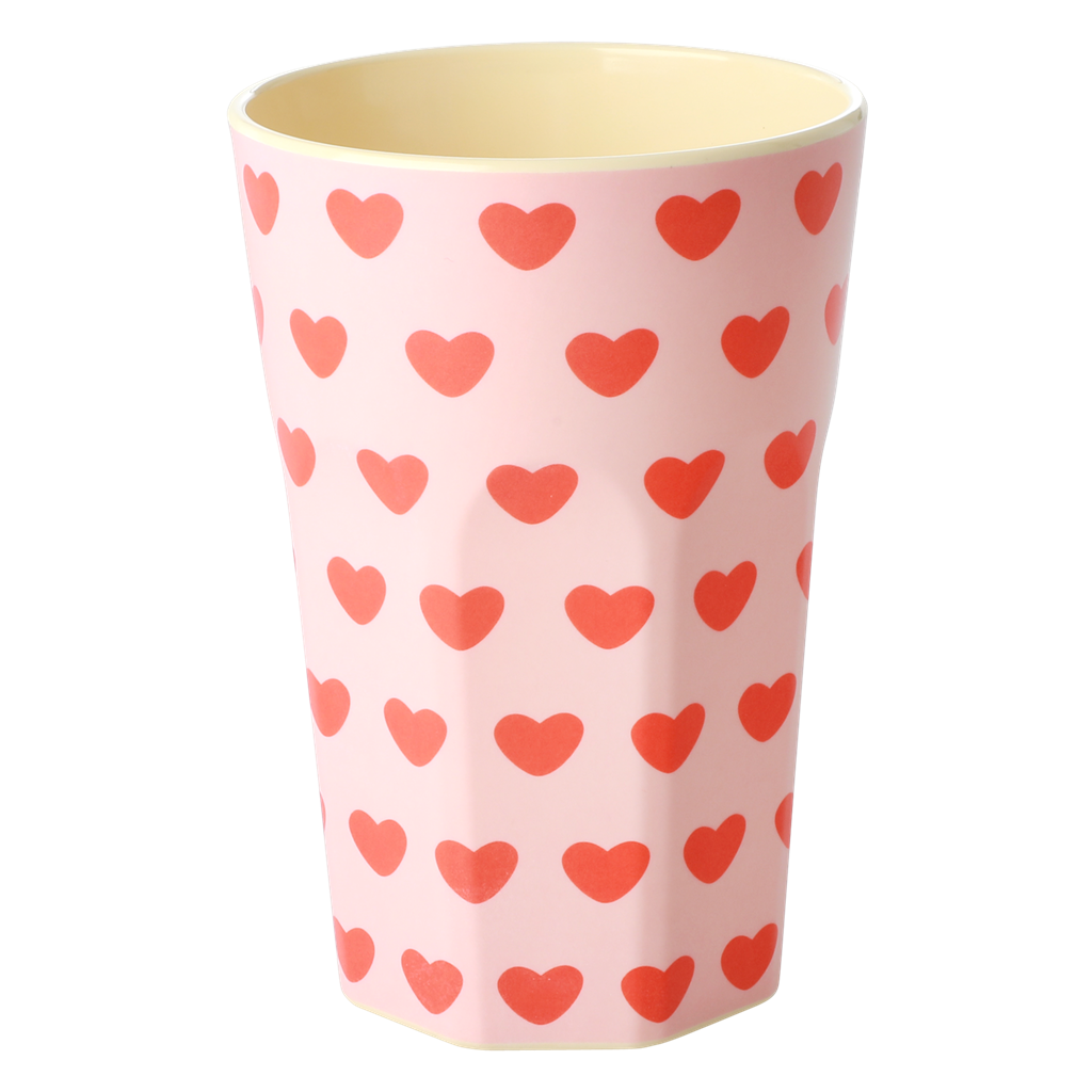 Melamine Cup with Sweet Hearts Print - Tall