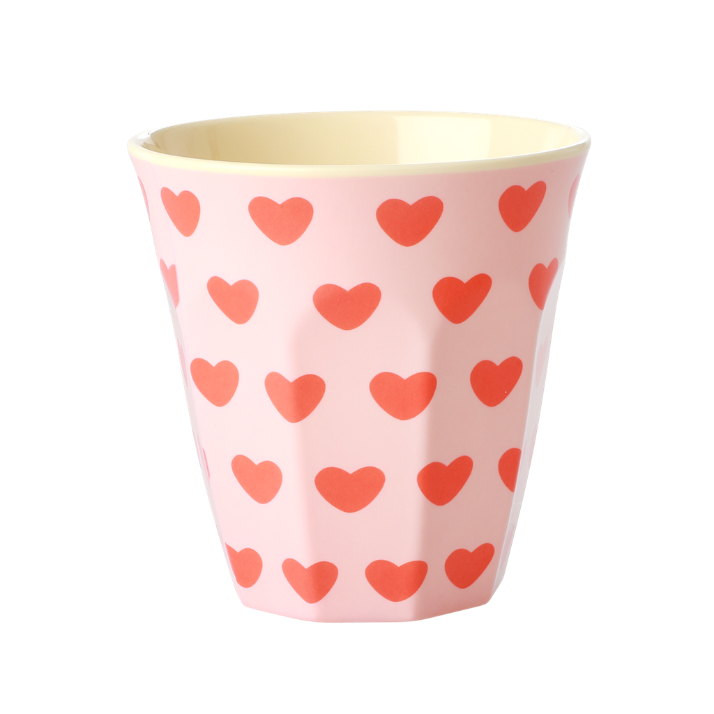 Melamine Cup - Medium in Sweet Hearts - Rice By Rice