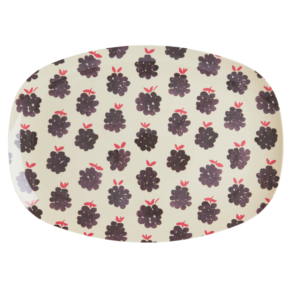Melamine Rectangular Plate with Blackberry Print - Rice By Rice