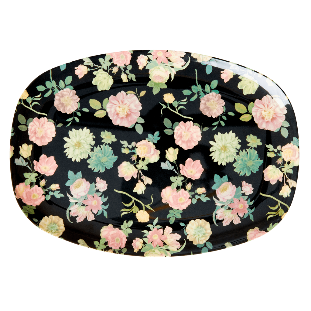 Melamine Rectangular Plate with Dark Rose Print - Rice By Rice