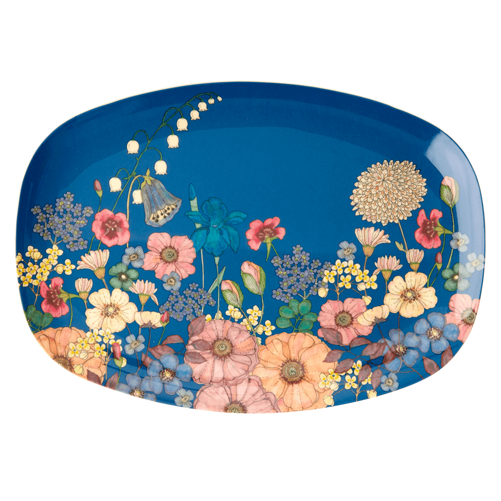 Melamine Rectangular Plate | Flower Collage Print - Rice By Rice