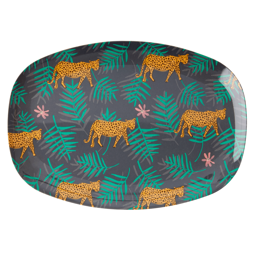 Melamine Rectangular Plate | Leopard & Leaves Print - Rice By Rice