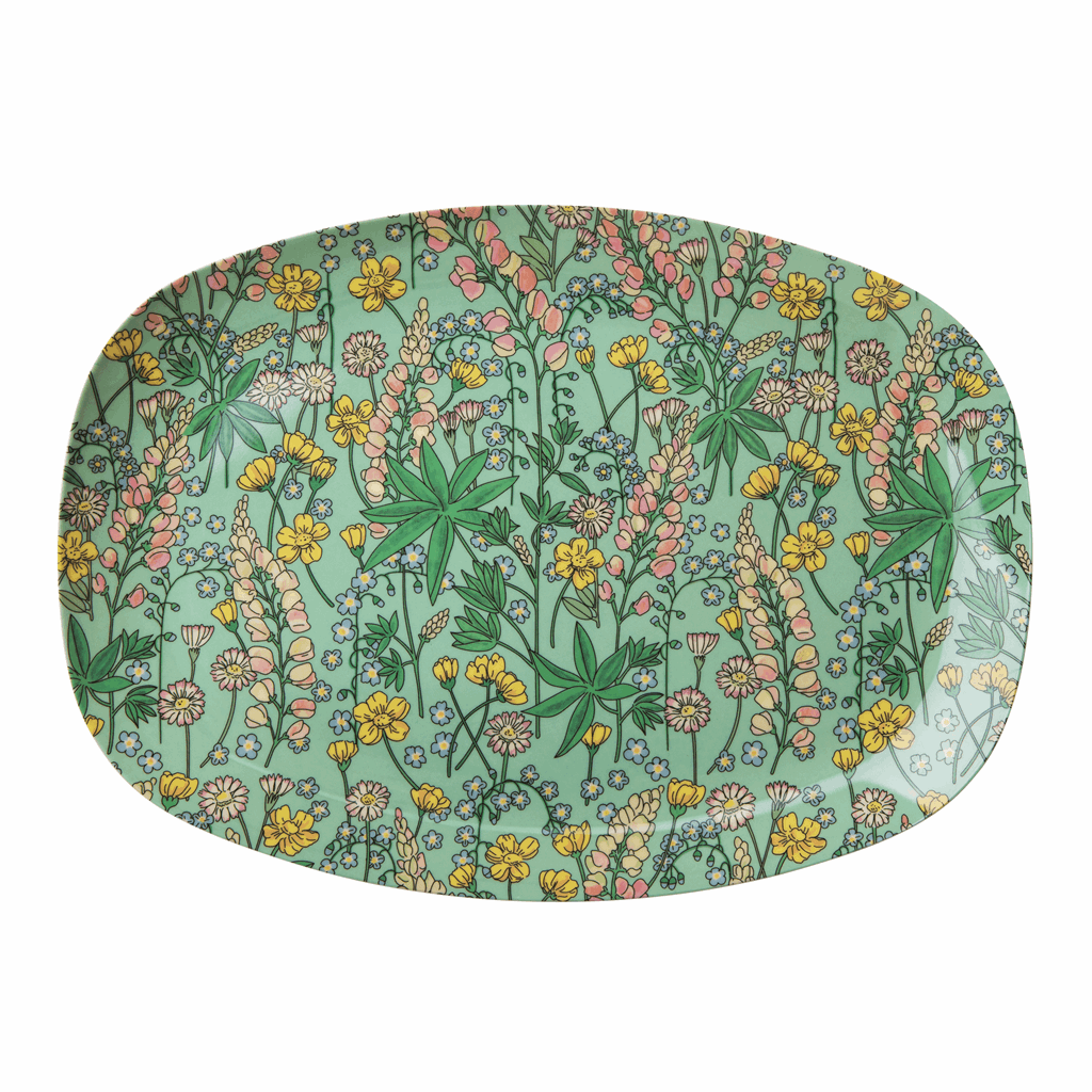 Melamine Rectangular Plate with Lupin Print - Rice By Rice