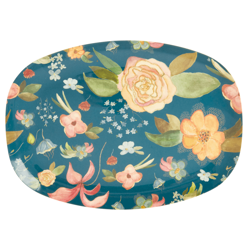 Melamine Rectangular Plate in Selma's Fall Flower Print - Rice By Rice