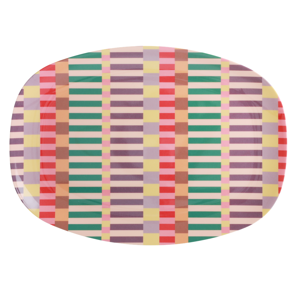 Melamine Rectangular Plate with Summer Stripes Print - Rice By Rice