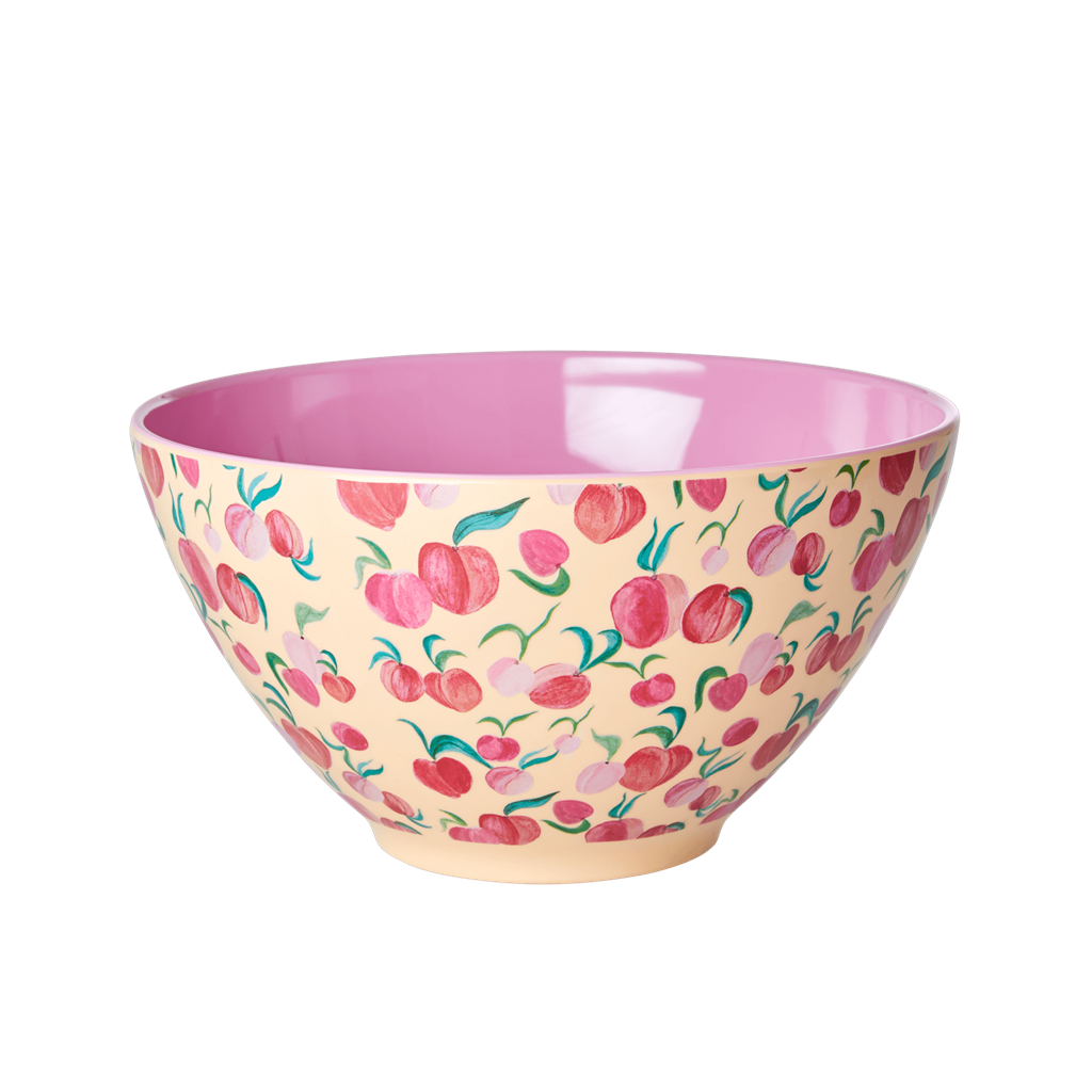 Melamine Salad Bowl in Peach Print - Large - Rice By Rice