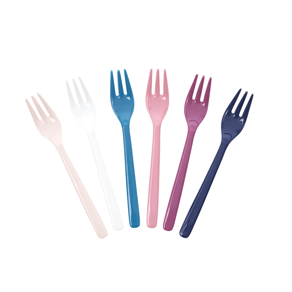 Melamine Cake Forks in Assorted 'Simply Yes' Colors - Bundle of 6 Same Color - Rice By Rice