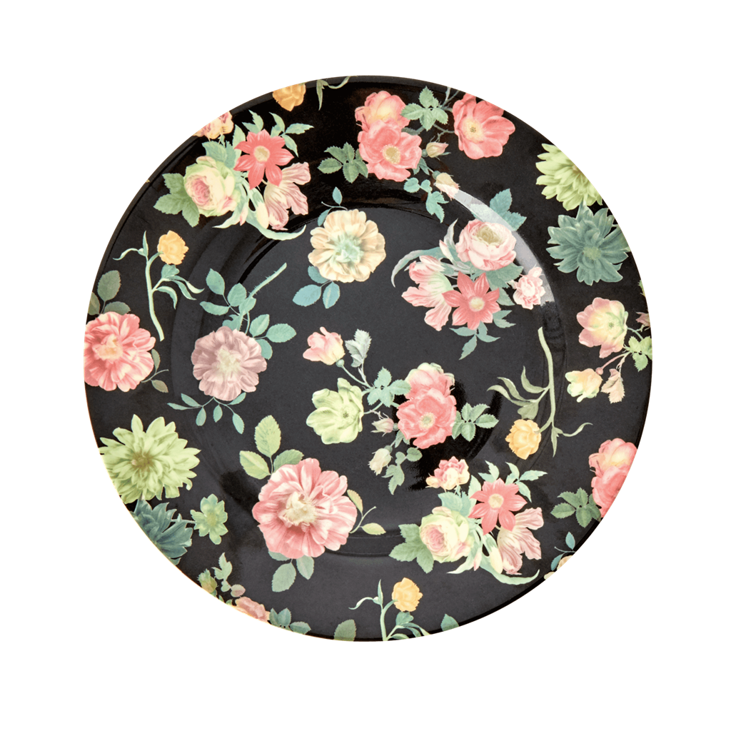 Melamine Lunch Plate with Dark Rose Print - Rice By Rice