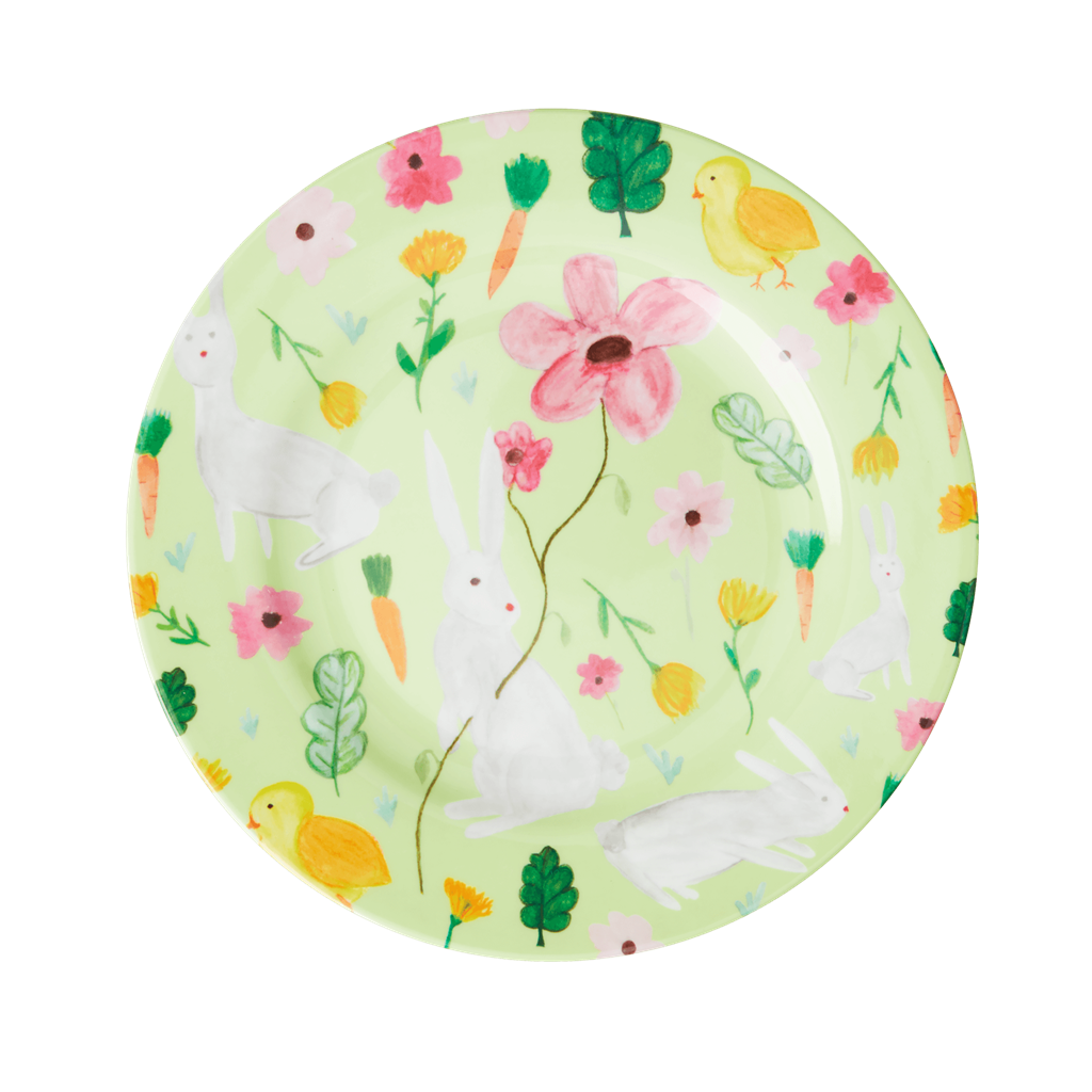 Melamine Lunch Plate in Green Bunny Print - Rice By Rice