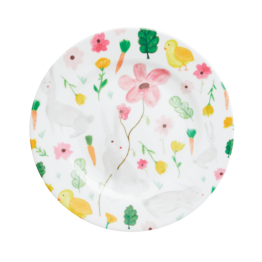 Melamine Lunch Plate in White Bunny Print - Rice By Rice