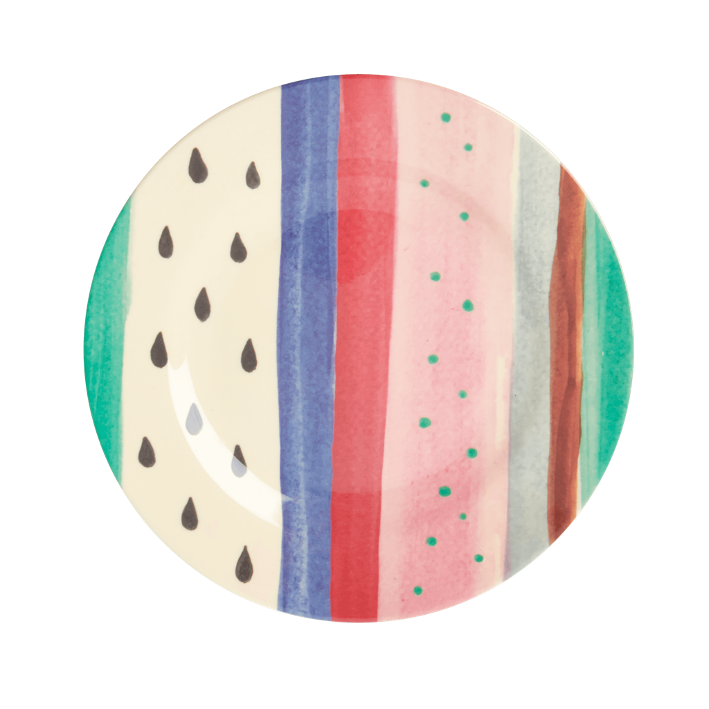 Melamine Lunch Plate with Louise's Stripe Print - Rice By Rice