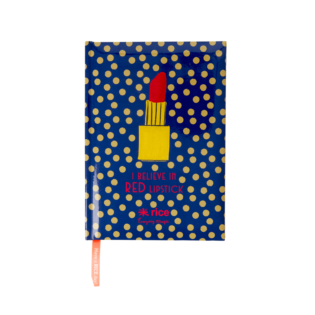 Notebooks with Dotted Pages - Dark Blue with Gold Dots and Lipstick - Size A5 - Rice By Rice
