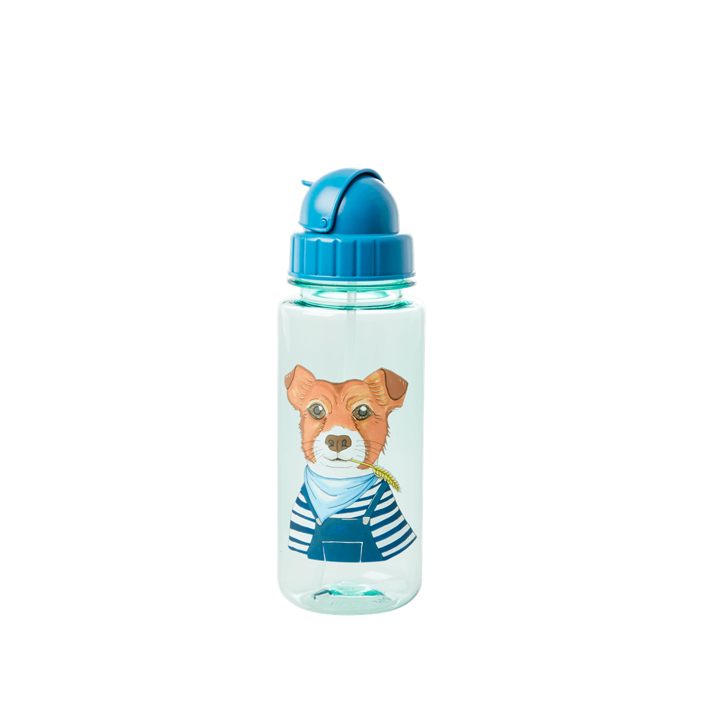 Plastic Drinking Bottle with Farm Animals Print - Blue - Rice By Rice