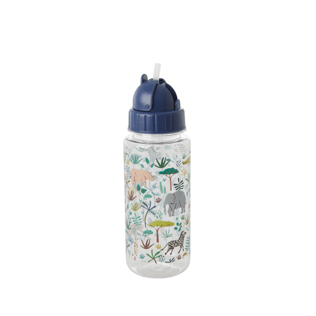 Plastic Drinking Bottle with Jungle Animals Print - Green - Rice By Rice