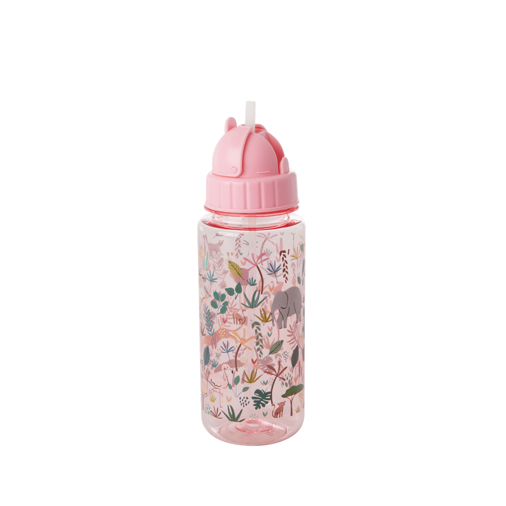 Plastic Drinking Bottle with Jungle Animals Print - Pink - Rice By Rice