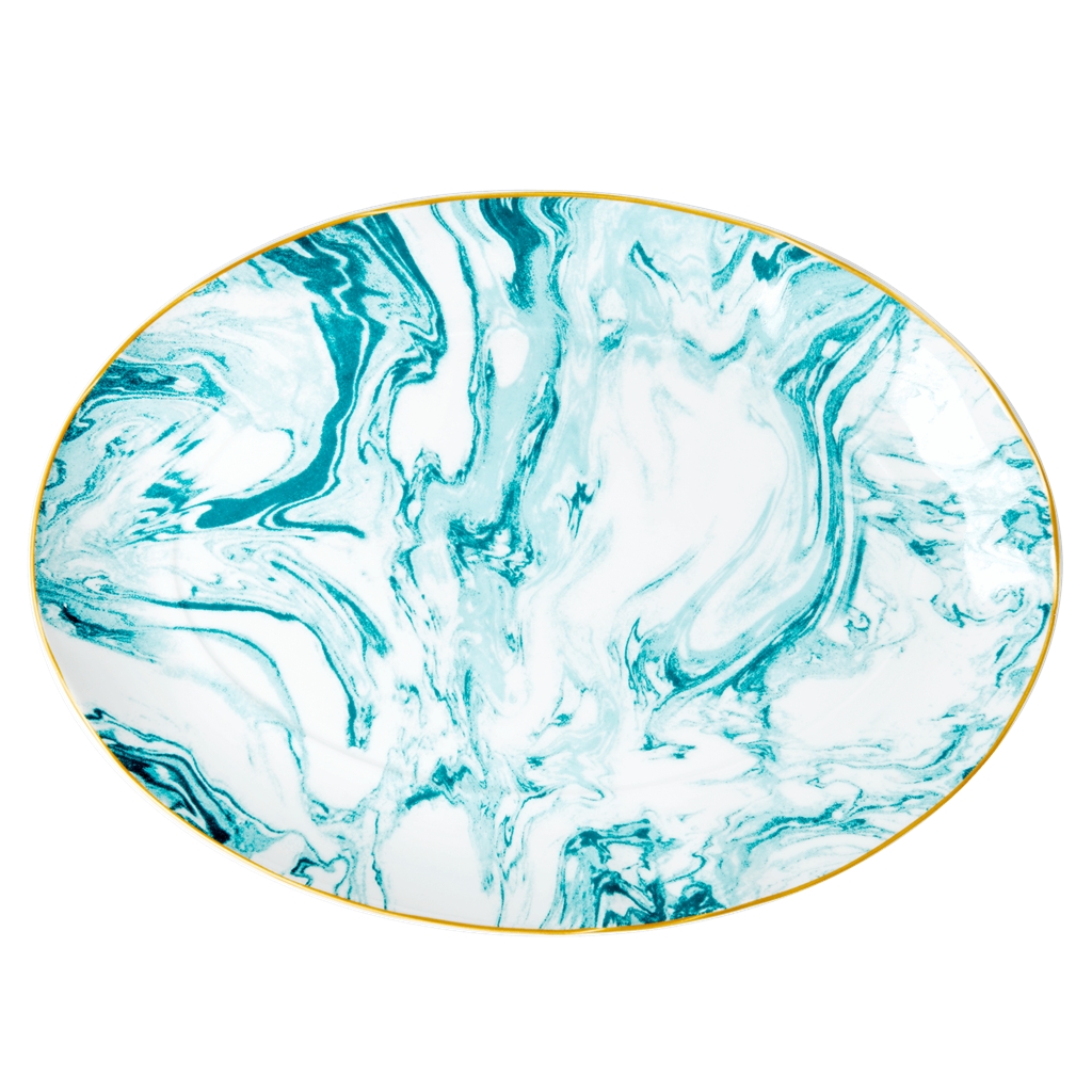 Porcelain Serving Bowl with Marble Print - Jade - Rice By Rice