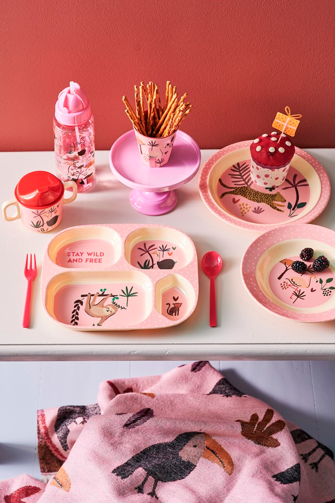 Melamine Kids 4 Room Plate | Pink Jungle Animals Print - Rice By Rice