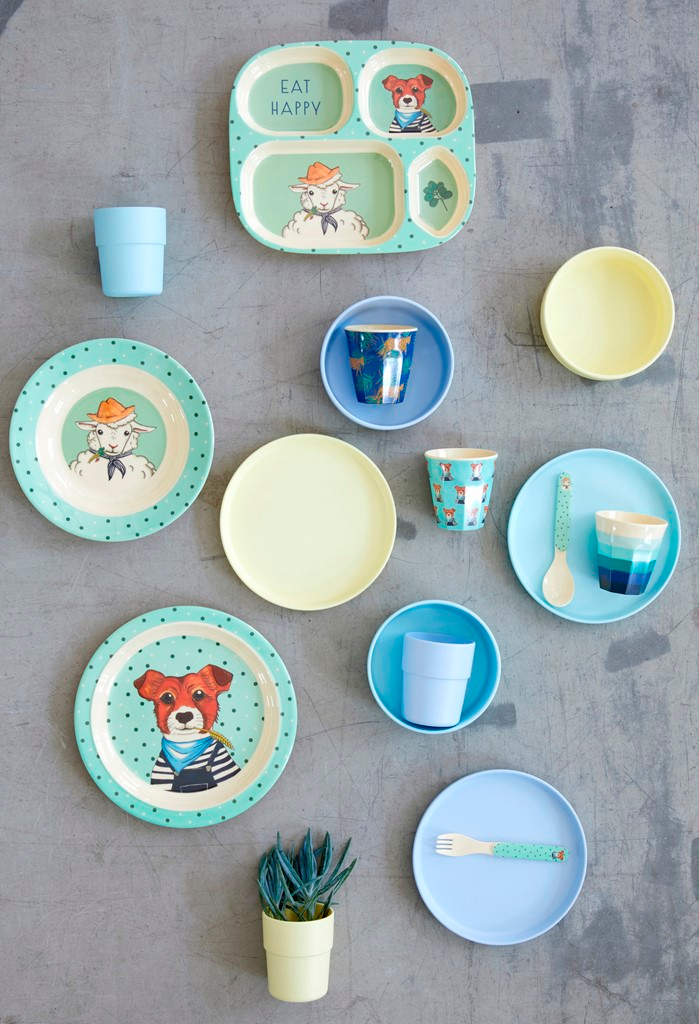 Melamine Kids Lunch Plate with Farm Animals Print - Green