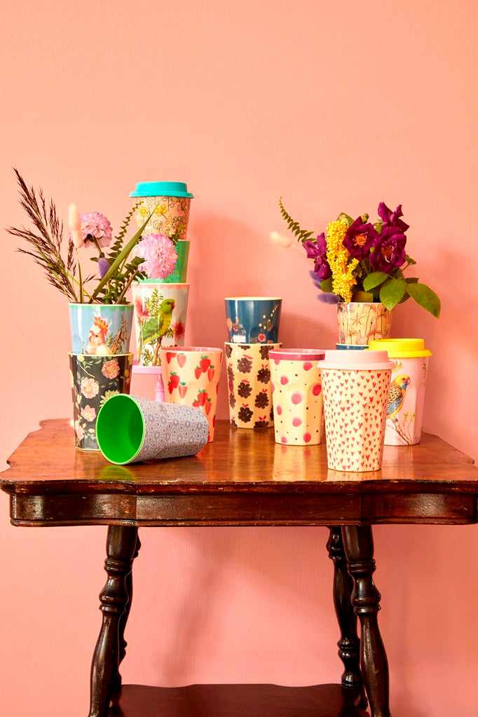Melamine Cup with Strawberry Print - Two Tone <br> Tall