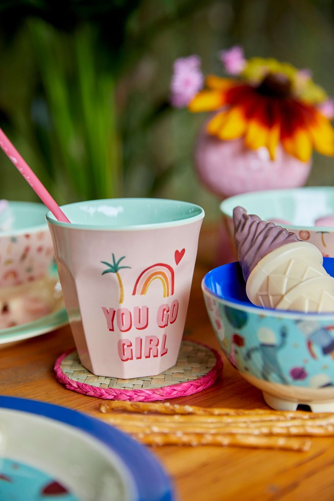 Melamine Cup - Medium in You Go Girl Print - Rice By Rice