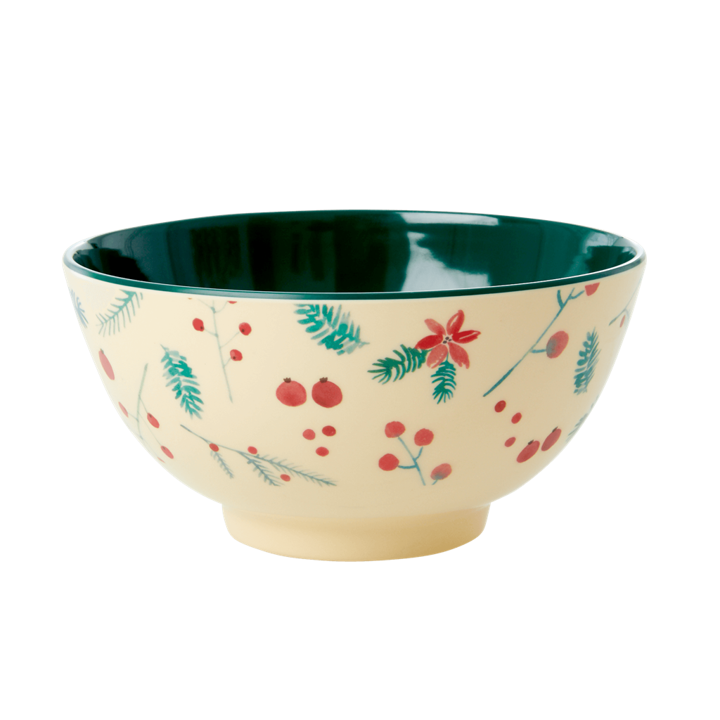 Melamine Bowl with Poinsettia Print - Two Tone - Medium - Rice By Rice