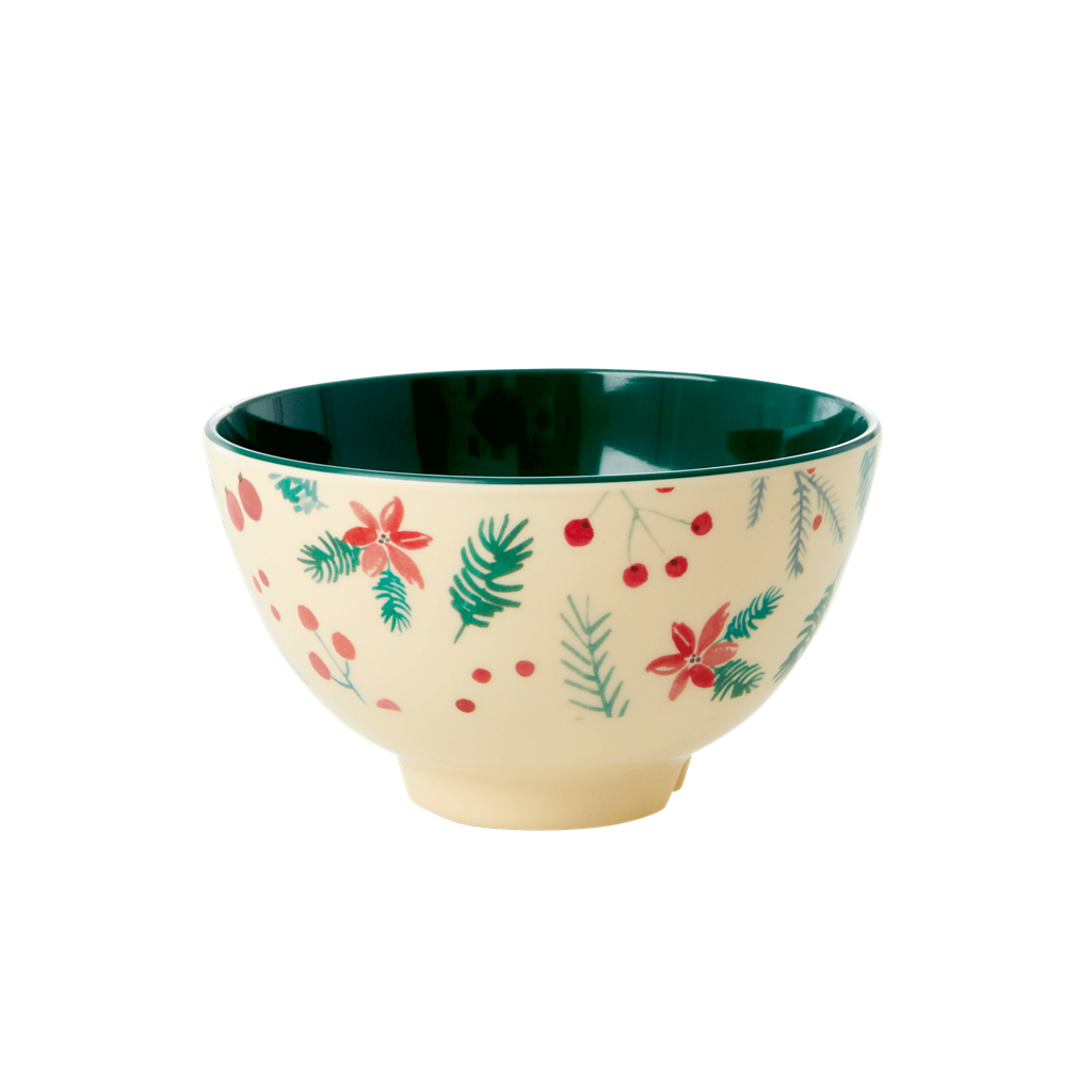Melamine Bowl with Poinsettia Christmas Print - Small - Rice By Rice