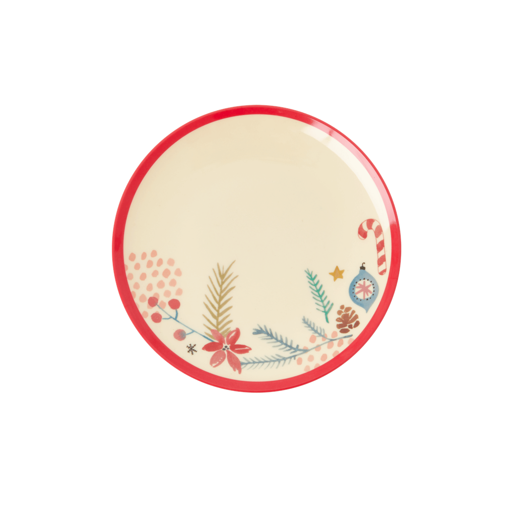 Melamine Dessert Plate with Christmas Ornaments Print - Rice By Rice