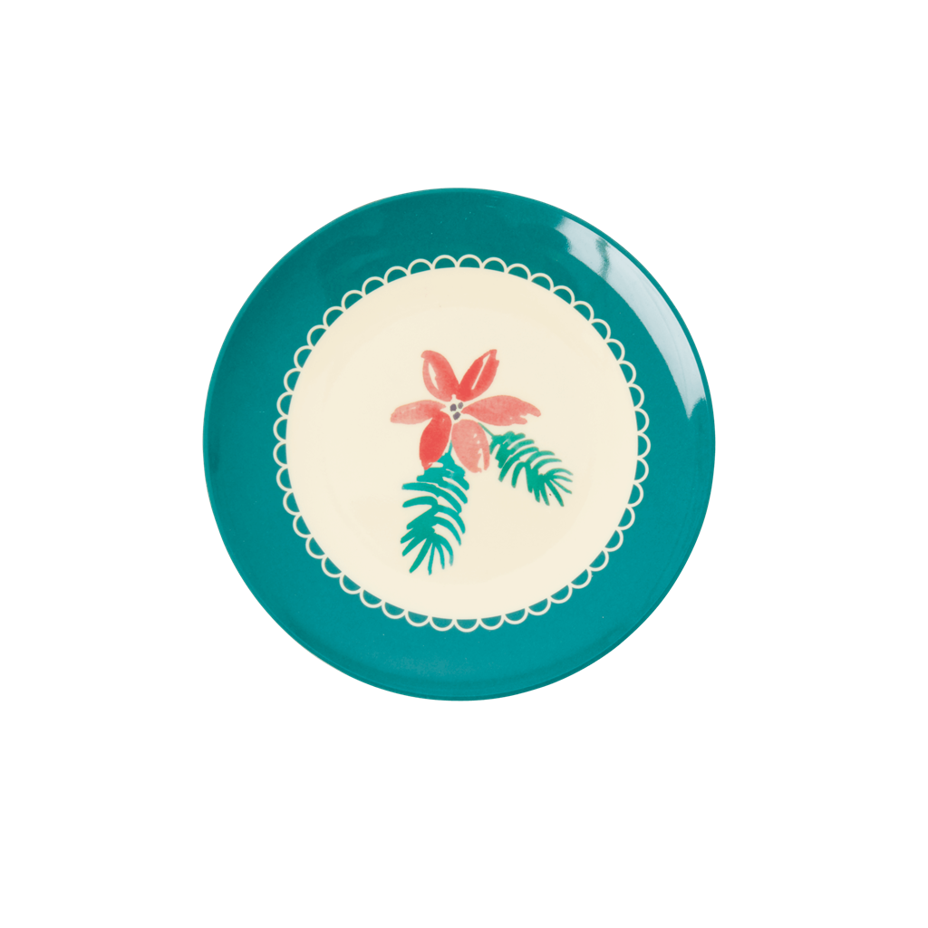 Melamine Dessert Plate with Christmas Poinsettia Print - Rice By Rice