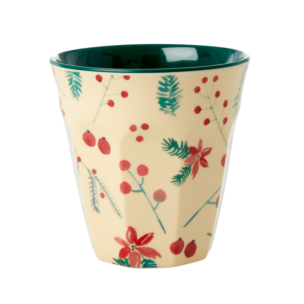 Melamine Cup with Poinsettia Christmas Print  - Two Tone - Medium - Rice By Rice