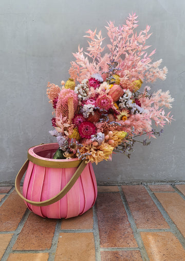 PRE-ORDER - LUXE Mothers Day Basket Arrangement - Dry Flowers - Pink