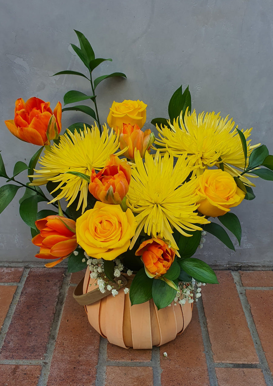 PRE-ORDER Mothers Day Floral Basket - Yellow