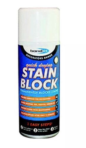 2 x BOND IT STAIN BLOCK 400ML SPRAY PAINT PREVENTS WATER MARKS MOULD RUST STAINS