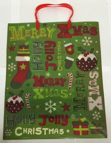 Christmas Design Gift Bag Plastic Handy Bag Re Use Xmas Holly Jolly Xmas