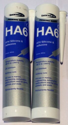 2 X Bond It - HA6 Marine Silicone Sealant - WHITE aquarium,fish tank sealer