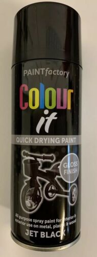 2x Paint Factory Multi-Purpose Colour It Spray Paint 400ml Jet Black