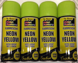 4 x 200ml Fluorescent Neon Yellow Spray Paint Matt Creative Paint
