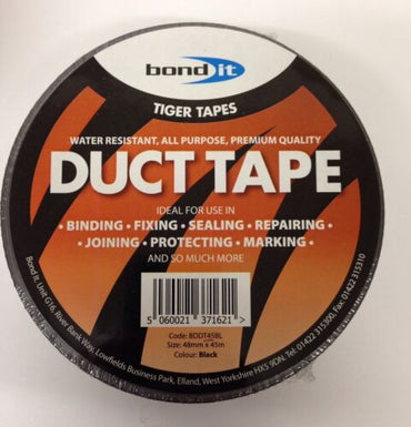 24 Rolls!! Bond It 48mm x 45m BLACK Duct Tape Water Resistant All Purpose Use