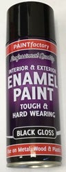 2 x Enamel Black Gloss Paint Spray Aerosol 400ml Radiator Metal Wood Etc. Tough