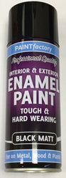 3 x Enamel Black Matt Paint Spray Aerosol 400ml Radiator Metal Wood Etc. Tough