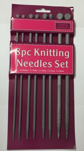 "Sewing Solutions 8pc Knitting Needles Set 4mm, 5mm, 6mm, 8mm, 25cm(10"")"