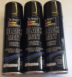3 x All Purpose Black Matt Spray Cans 250ml Spray Paint Interior Exterior
