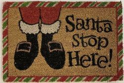 Santa Stop Here Door Mat Coir Rubber Back Non Slip Entrance Doormat