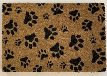 Paw Print Door Mat Coir Rubber Back Non Slip Entrance Doormat