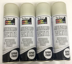 4 x Metallic white interior&exterior spray paint 250ml