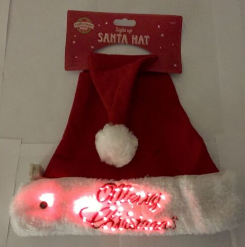 FESTIVE FATHER CHRISTMAS SANTA FANCY DRESS COSTUME XMAS PARTY HAT LIGHT UP