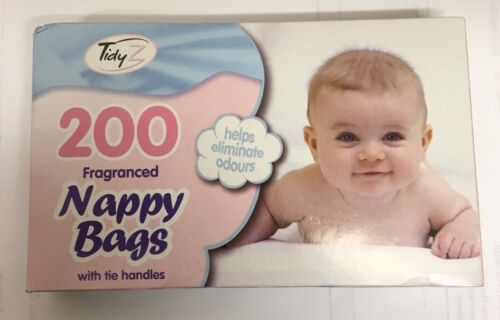 200 Disposable Hygenic Nappy Bags Sack Bin Tie Handles Fragranced